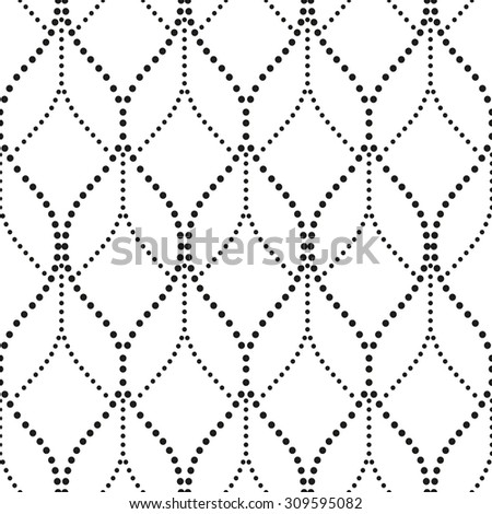 Abstract wavy pattern with points. A seamless vector background. Gray and white texture