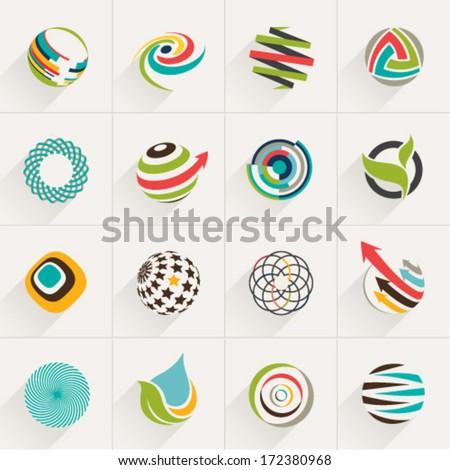 Abstract Web Icons Globe Vector Logos Stock Vector