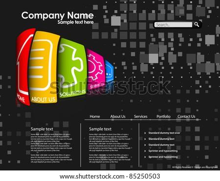 Abstract web site design, vector template - stock vector