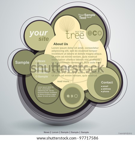 Abstract web site nature design, vector template - stock vector