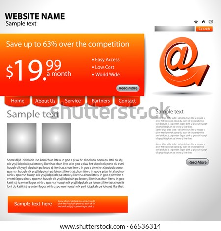 abstract Website design template, vector illustration. - stock vector
