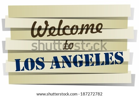 Abstract Welcome To Los Angeles Banner vector Illustration