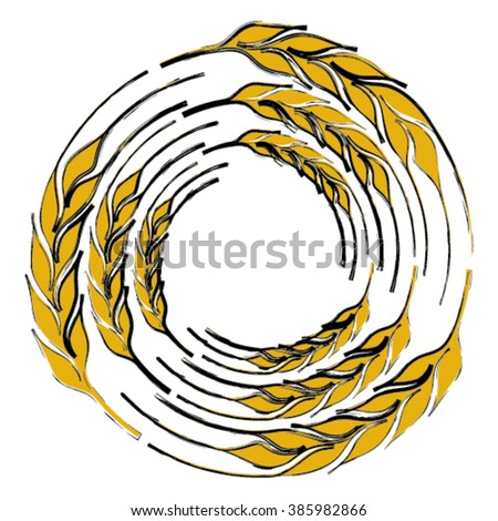 Abstract wheat ear wreath isolated on white background - stock vector