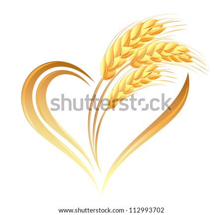 Abstract wheat ears icon with heart element - stock vector