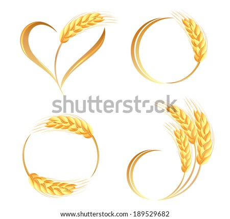 Abstract wheat ears icons - stock vector