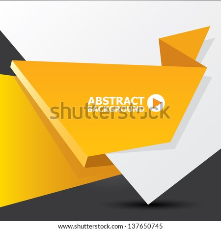 Abstract White And Orange Paper Origami Background Vector Speech Bubble