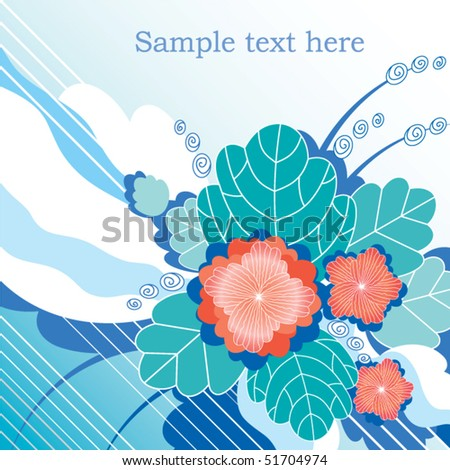 Abstract white-and-turquoise background with decorative red flowers and foliage