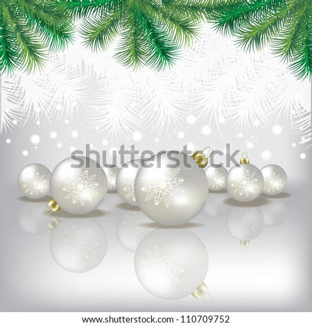 Abstract white background with Christmas tree and decorations - stock vector