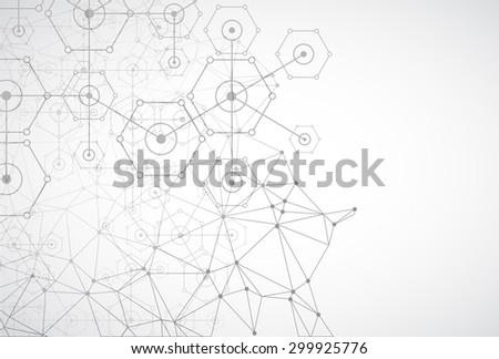 Abstract white bright technology hexagonal background. Connection structure. Vector - stock vector