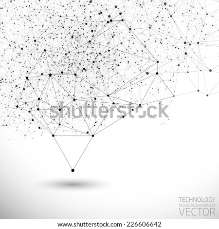 Abstract white bright technology vector background. Connection structure. Vector science background. Polygonal vector background - stock vector