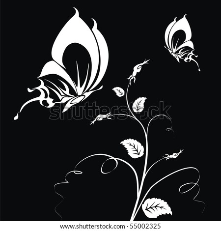 Abstract white butterflies on a black background for your design - stock vector