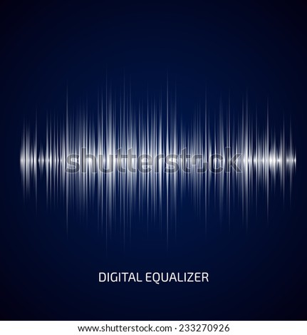 Abstract white music equalizer on dark blue background. Vector illustration - stock vector