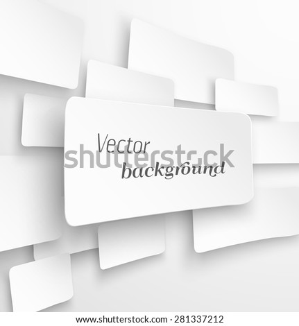 Abstract white paper banner background with drop shadow. Vector illustration - stock vector