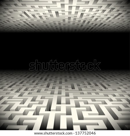 Abstract white perspective labyrinth in the darkness - stock vector