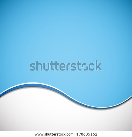 abstract white wave pattern on blue sky background (vector)  - stock vector