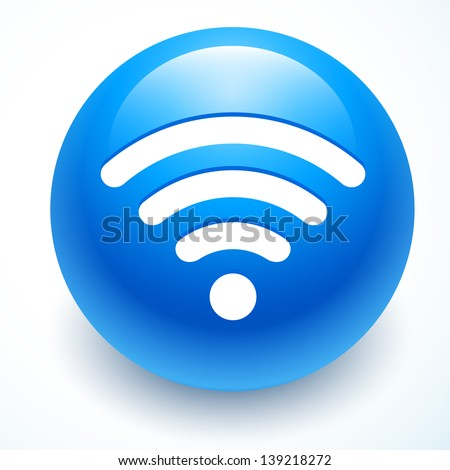 abstract wifi icon on blue background - stock vector