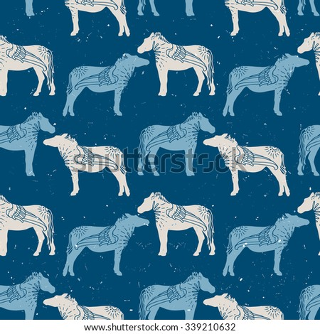 Abstract wild horse seamless pattern with wing - stock vector