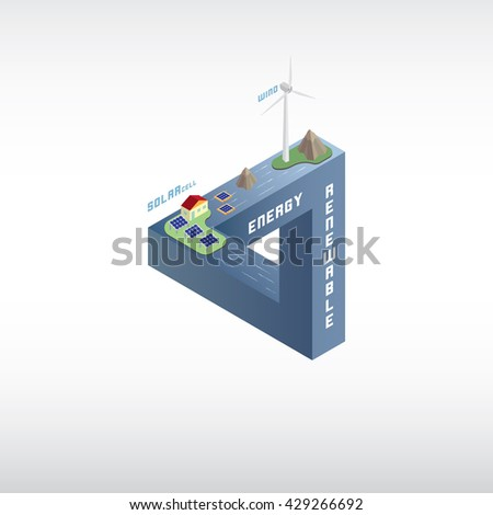 abstract wind and solar cell energy - stock vector