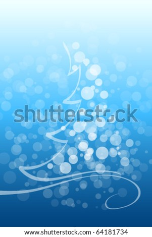 Abstract Winter and Christmas background in blue color - stock vector