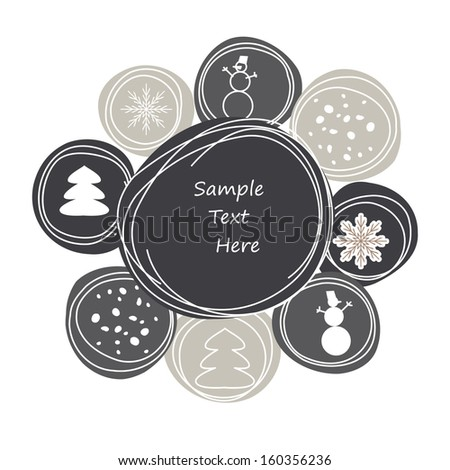 Abstract winter background of a snowflake a fur-tree a snowball - stock vector