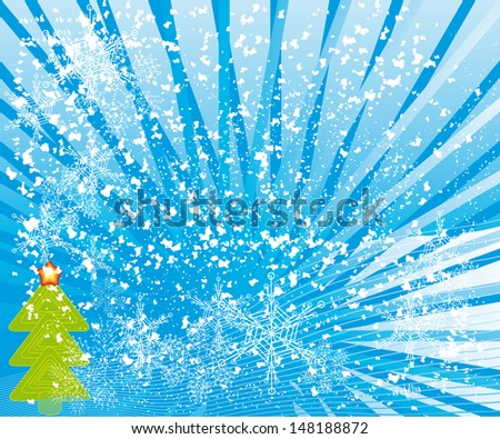 abstract winter background with different symbols by christmas - stock vector