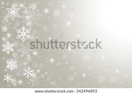 Abstract winter background with falling snowflakes and snow - stock vector