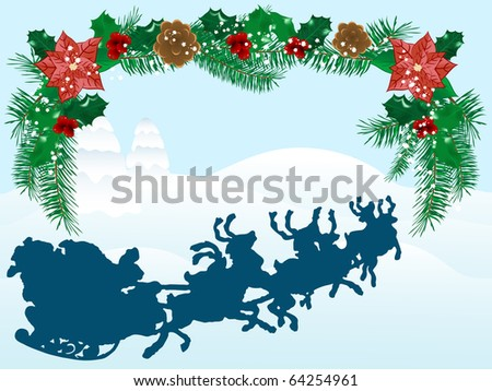 Abstract winter background with santa - stock vector