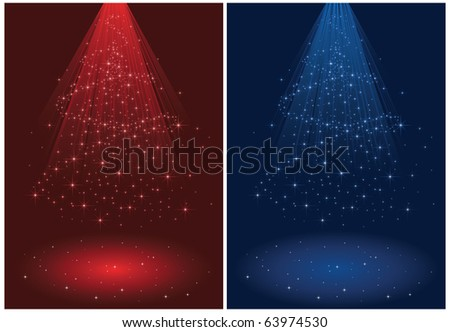Abstract winter background, with stars and Christmas tree, illustration - stock vector