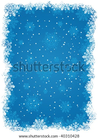 Abstract winter blue background, with snowflakes, illustration - stock vector