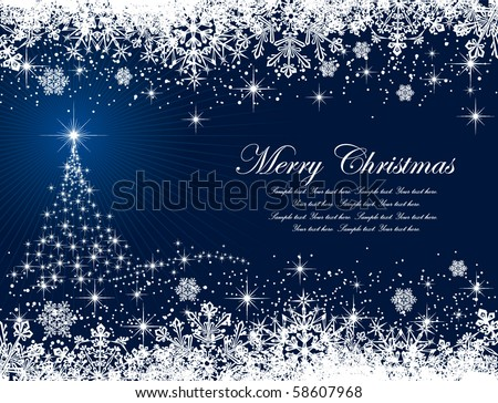 Abstract winter blue background, with stars, snowflakes and Christmas tree, illustration - stock vector