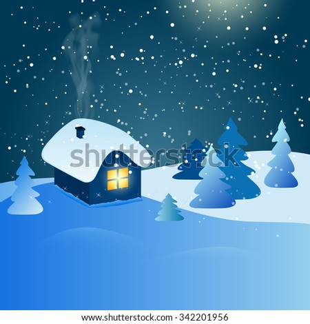 Abstract winter landscape with house, snow, forest and starry night sky - vector illustration