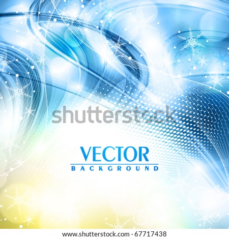 Abstract winter shiny blue background. Vector