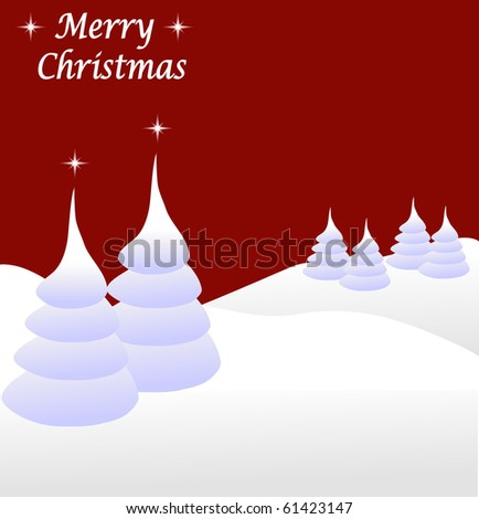 Abstract winter vector scene with a red background snowy christmas trees.