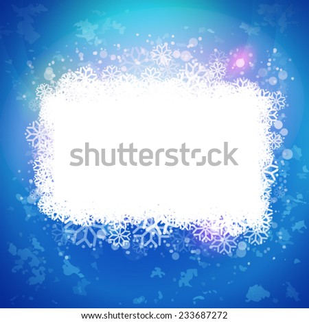Abstract winter vector. Snowing label. Snoflakes frame for text message. Holidays banner and card design elements - stock vector