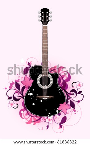 Abstract with acoustic  guitar and design elements - stock vector