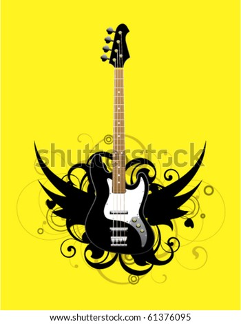 Abstract with bass guitar on a yellow background - stock vector