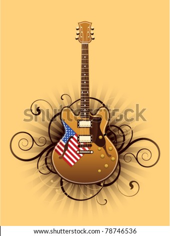 abstract with beautiful electric guitar - stock vector