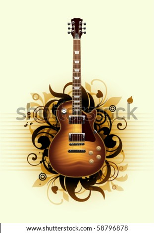 Abstract with beautiful  guitar on a yellow background - stock vector