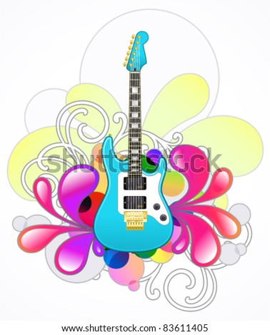 Abstract with blue electric guitar and design elements - stock vector