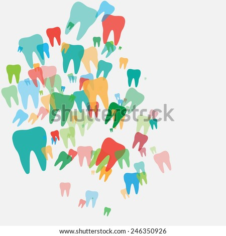 Abstract with colored teeth on the grey background - stock vector