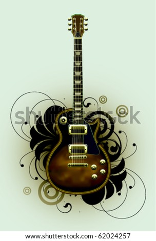 Abstract with guitar and design elements - stock vector