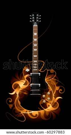 Abstract with guitar on a black background - stock vector