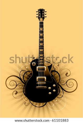 Abstract with guitar on a yellow background - stock vector