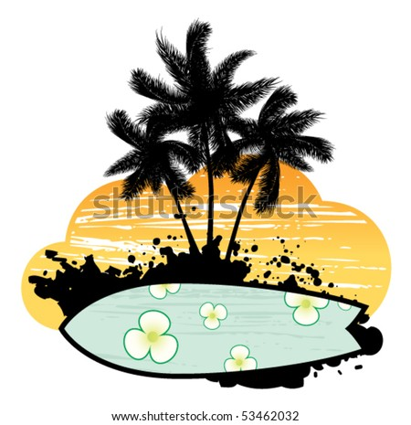 Abstract with palm trees, flowers and surfboard - stock vector