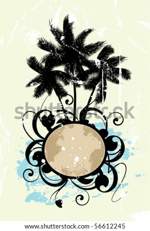 Abstract with palm trees on a textured background - stock vector