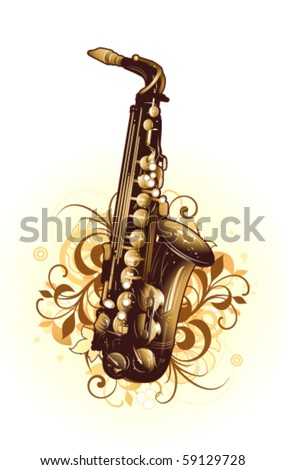 Abstract with saxophone and design elements - stock vector