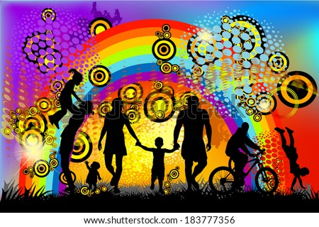 Abstract with silhouettes of childhood. Vector - stock vector