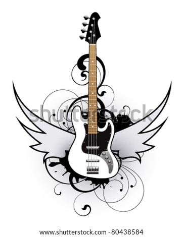 Abstract with white bass guitar - stock vector