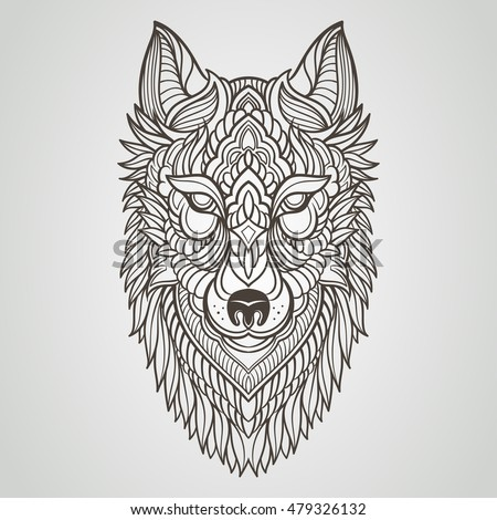 Abstract Wolf Hand Draw Stock Vector 479326126