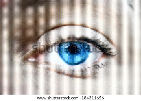 Abstract woman blue eye made from dots. Vector - stock vector